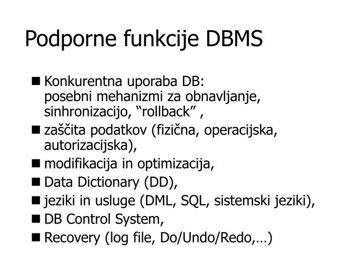 Podporne funkcije DBMS