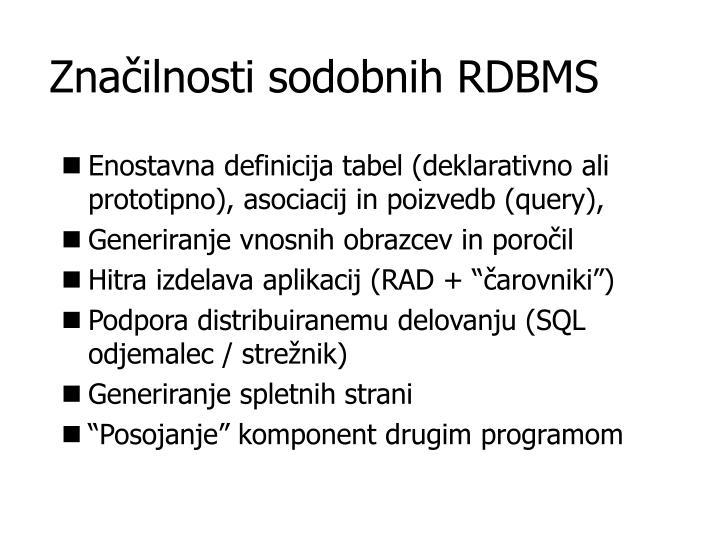 Značilnosti sodobnih RDBMS