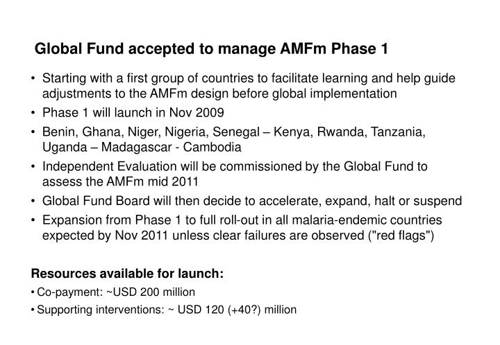 Global Fund accepted to manage AMFm Phase 1