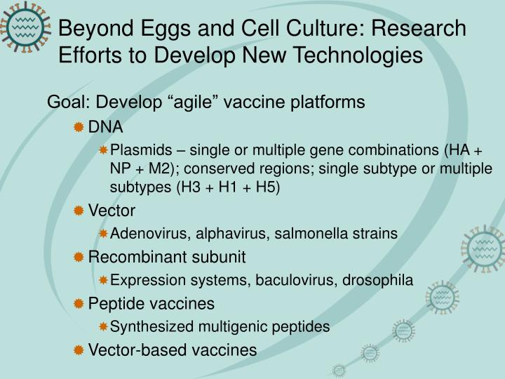 Beyond Eggs and Cell Culture: Research Efforts to Develop New Technologies