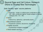 beyond eggs and cell culture research efforts to develop new technologies