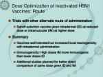 dose optimization of inactivated h5n1 vaccines route