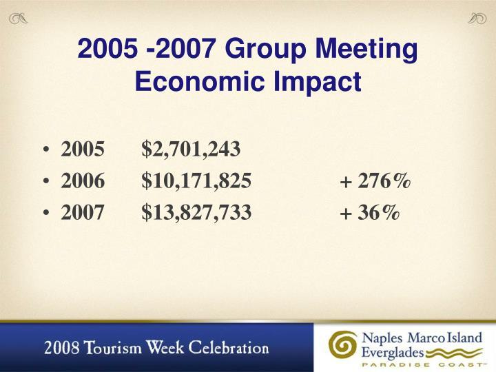 2005 -2007 Group Meeting Economic Impact