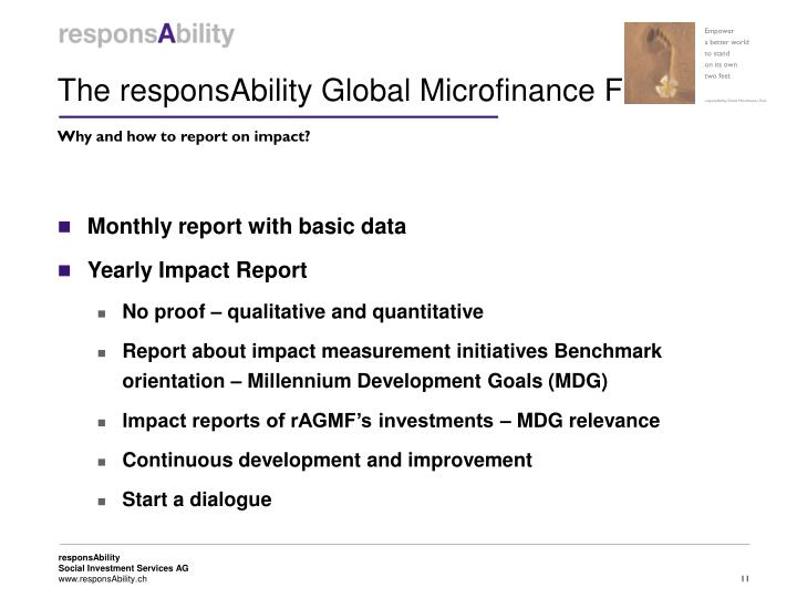 The responsAbility Global Microfinance Fund