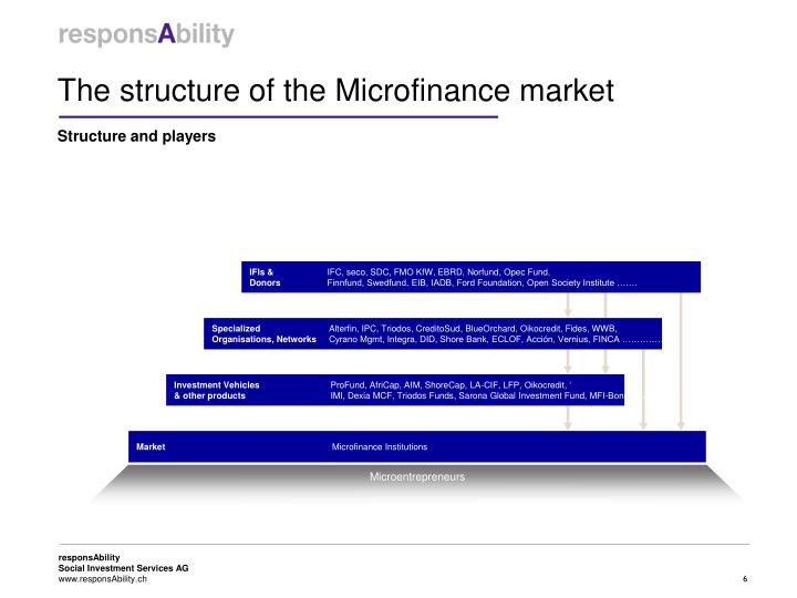 The structure of the Microfinance market