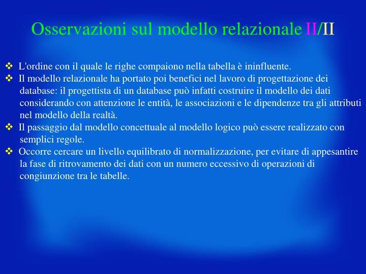 Osservazioni sul modello relazionale