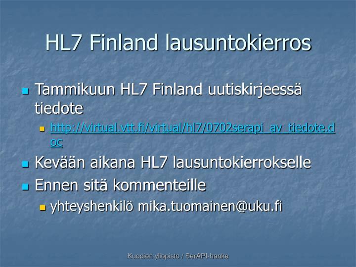 HL7 Finland lausuntokierros