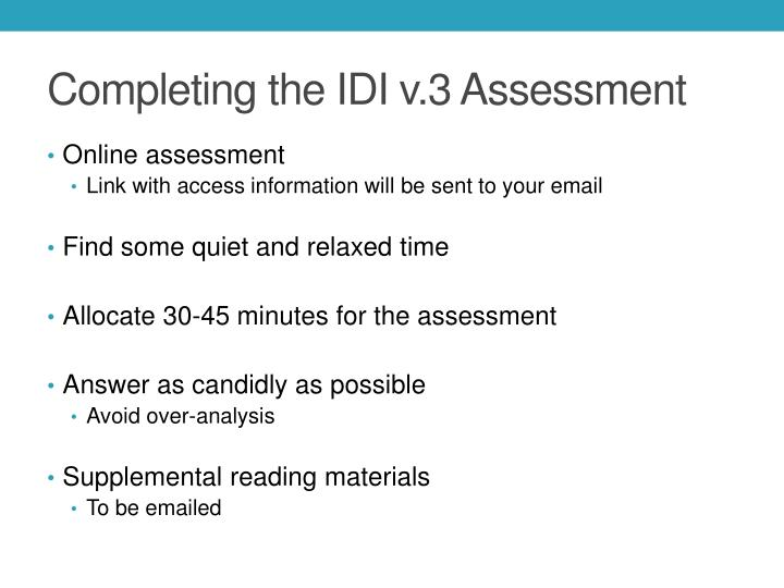Completing the IDI v.3 Assessment