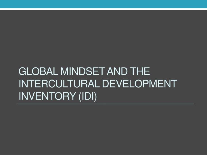 Global mindset and the Intercultural Development Inventory (IDI)