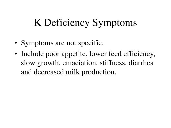 K Deficiency Symptoms