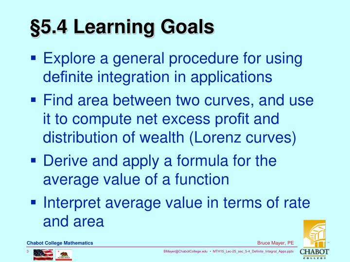 §5.4 Learning Goals