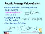 recall average value of a fcn