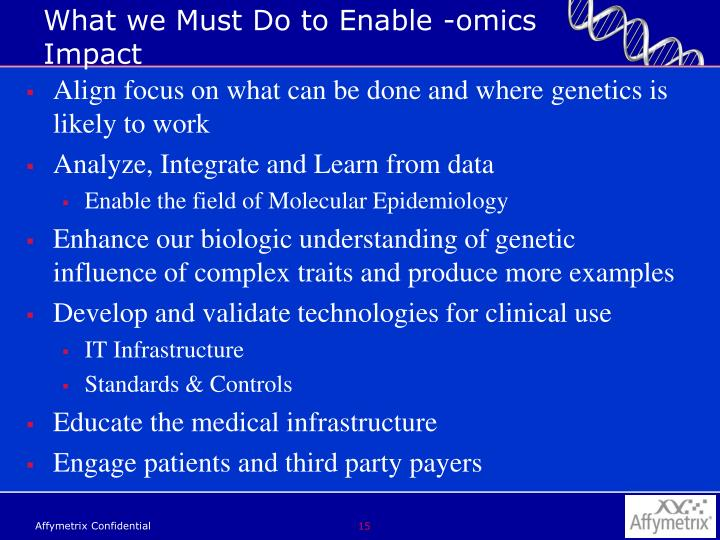 What we Must Do to Enable -omics Impact