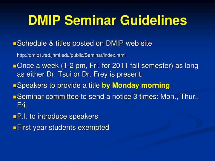DMIP Seminar Guidelines