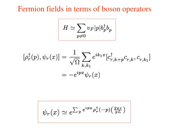 Fermion fields in terms of boson operators