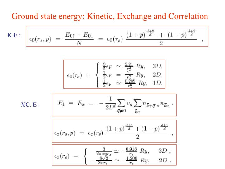 Ground state energy: Kinetic, Exchange and Correlation