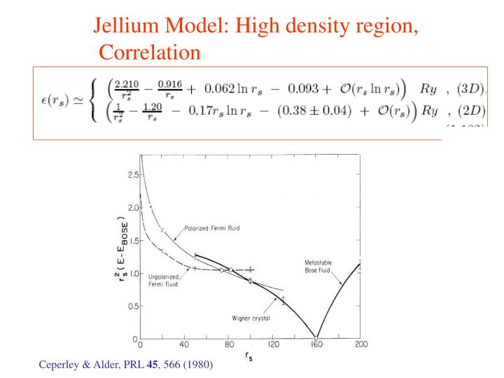 Jellium Model: High density region,