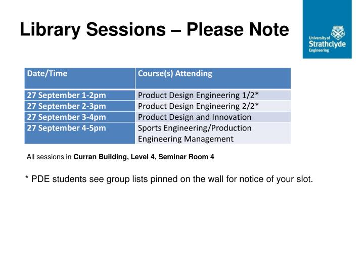 Library Sessions – Please Note