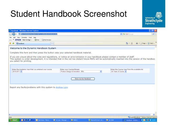 Student Handbook Screenshot