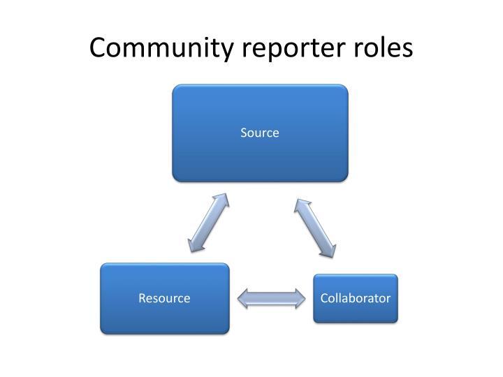 Community reporter roles