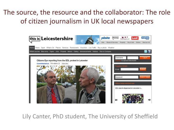 The source the resource and the collaborator the role of citizen journalism in uk local newspapers