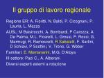 il gruppo di lavoro regionale1