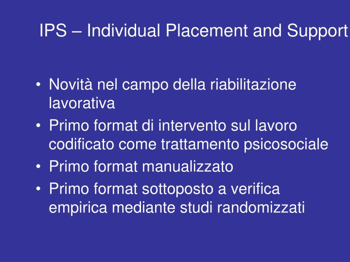 IPS – Individual Placement and Support