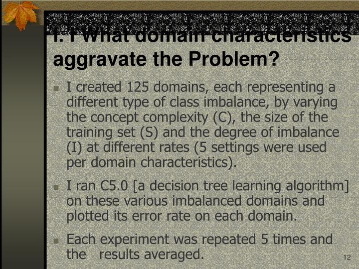 I. I What domain characteristics aggravate the Problem?