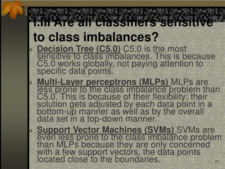 I.III Are all classifiers sensitive to class imbalances?