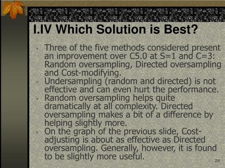 I.IV Which Solution is Best?