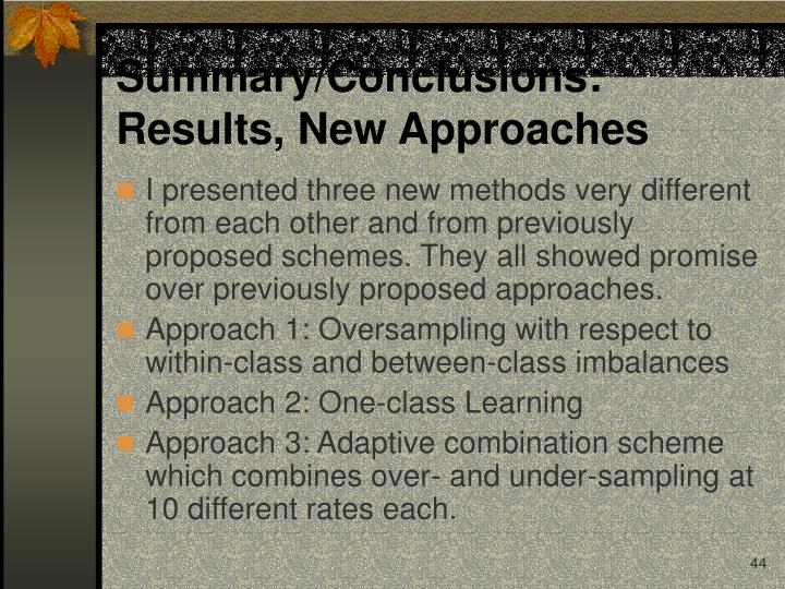 Summary/Conclusions:      Results, New Approaches