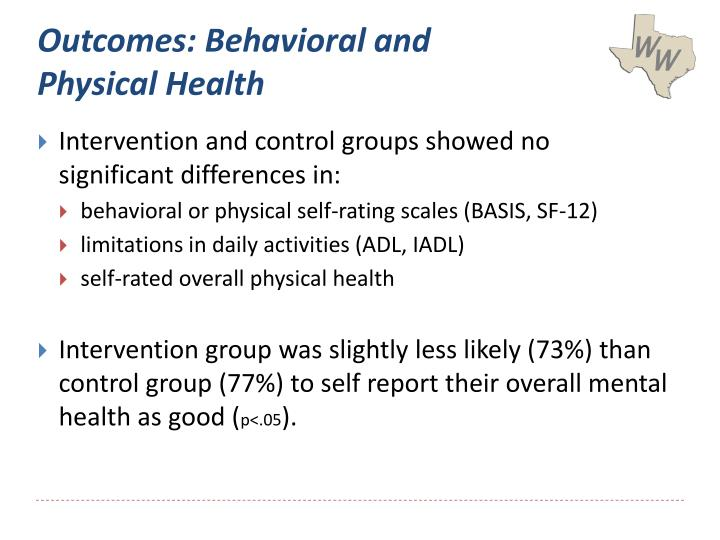 Outcomes: Behavioral and