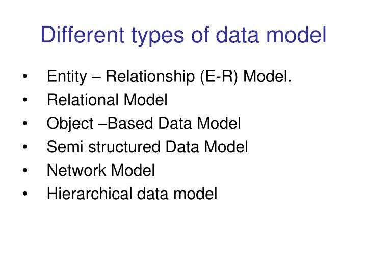 Different types of data model