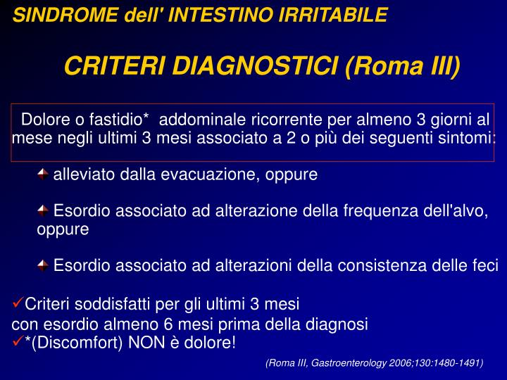 SINDROME dell' INTESTINO IRRITABILE