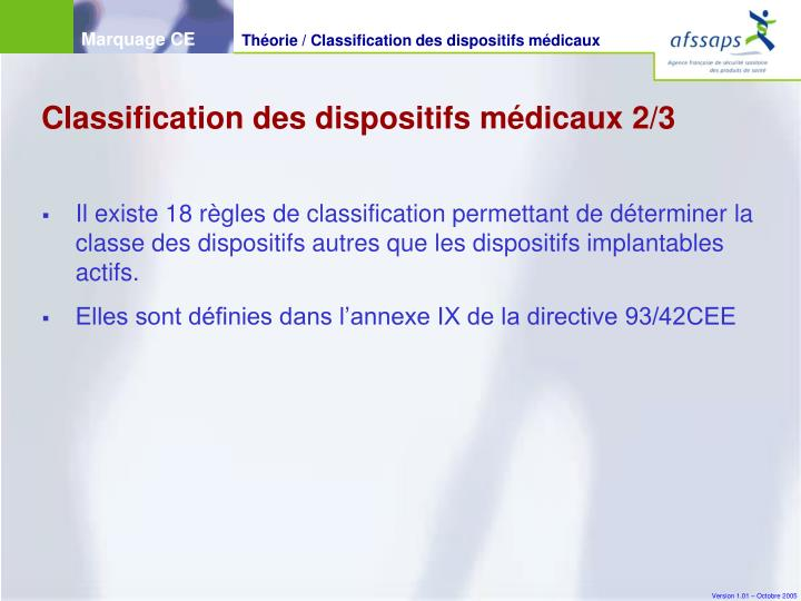 Classification des dispositifs médicaux 2/3