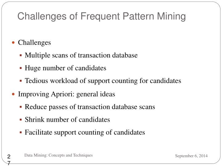 Challenges of Frequent Pattern Mining