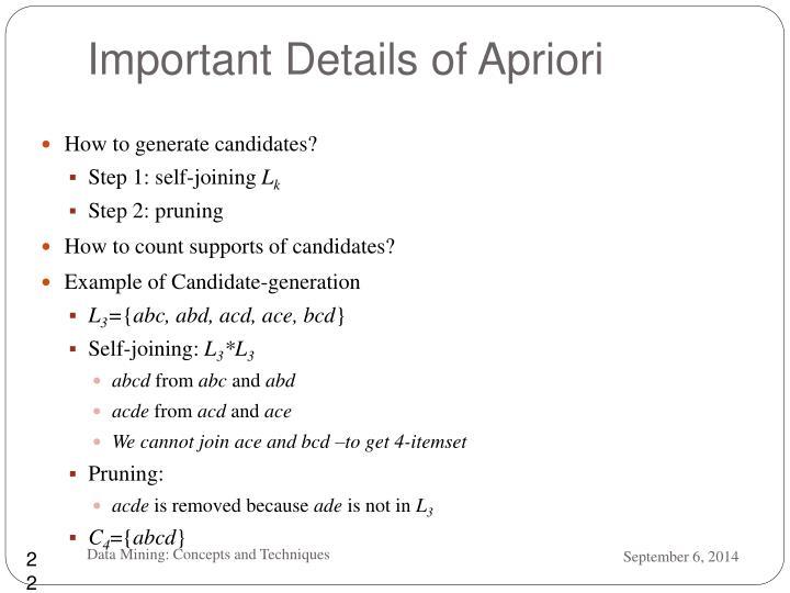 Important Details of Apriori