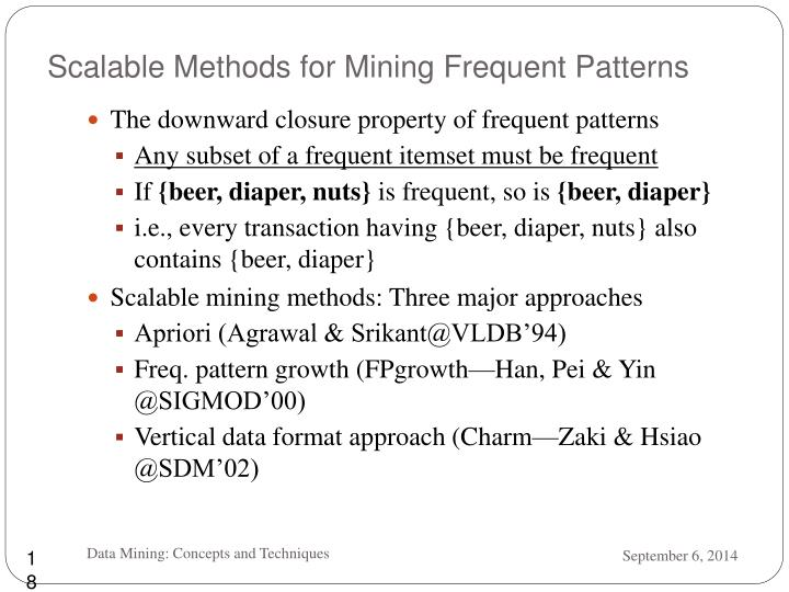 Scalable Methods for Mining Frequent Patterns