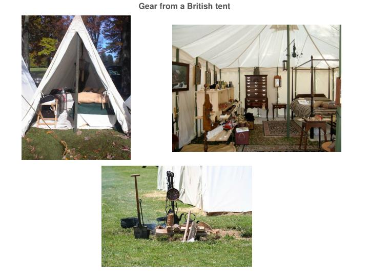 Gear from a British tent