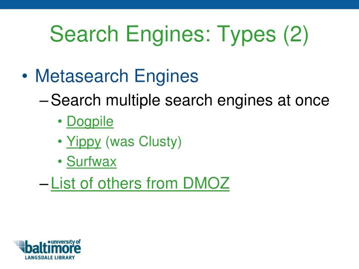 Search Engines: Types (2)
