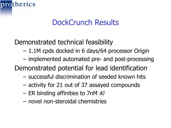 DockCrunch Results