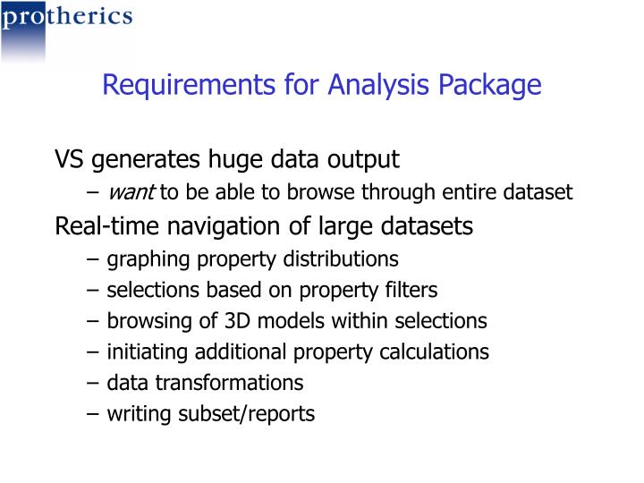 Requirements for Analysis Package