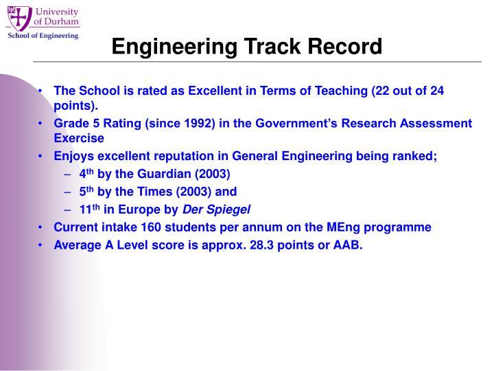 Engineering Track Record