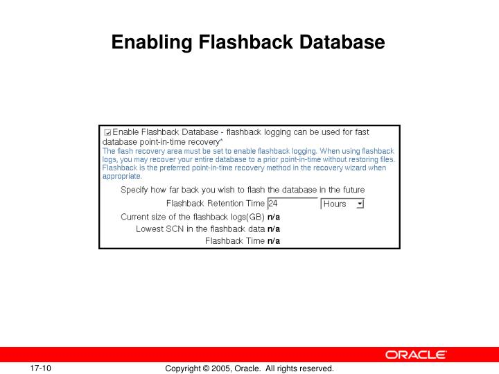 Enabling Flashback Database