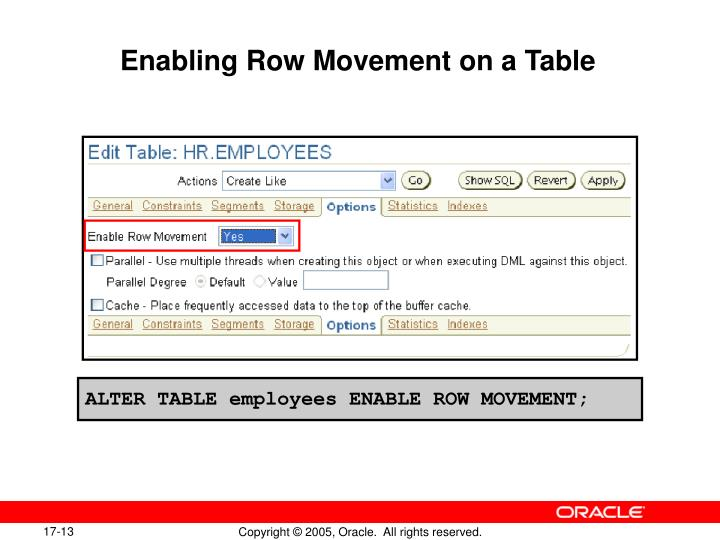 Enabling Row Movement on a Table