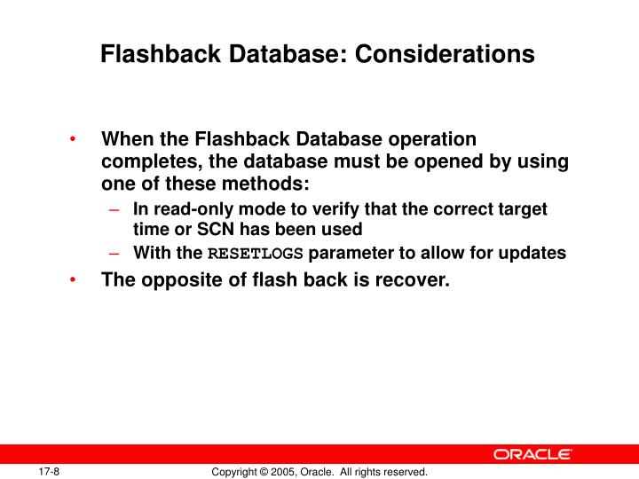 Flashback Database: Considerations