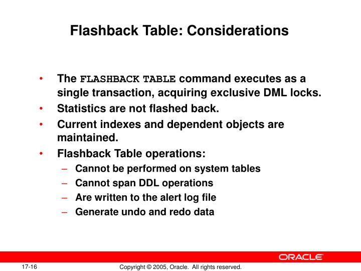 Flashback Table: Considerations