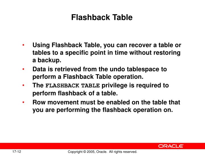 Flashback Table