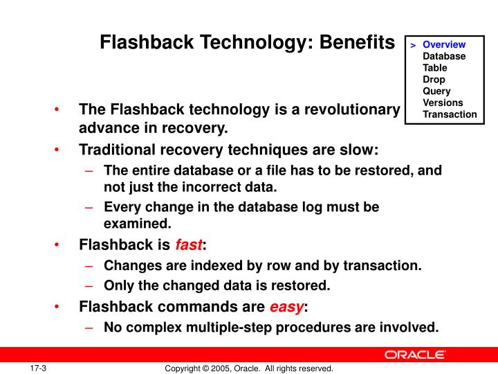 Flashback technology benefits