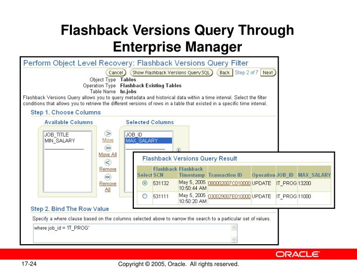 Flashback Versions Query Through Enterprise Manager